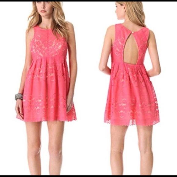 bb9178395fb0 Free People Dresses | Rocco Lace Dress Sleeveless Coral Pink | Poshmark